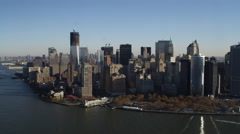 Over the Hudson River, looking back at New York Financial District. Shot in Stock Footage