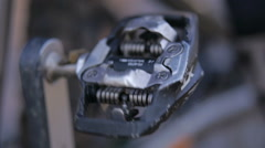Close up footage of an spinning bicycle pedal Stock Footage
