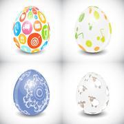 Beautiful Easter Egg Set Vector Illustration Stock Illustration