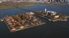 Orbiting Ellis Island, New York City. Shot in 2011. - stock footage