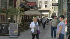 Walking on Karntner Strasse in Vienna Stock Footage