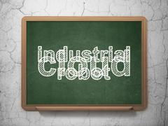 Industry concept: Industrial Robot on chalkboard background Piirros