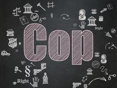 Stock Illustration of Law concept: Cop on School Board background