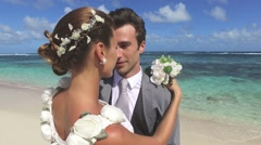 Bride and groom looking at each other's eyes Stock Footage