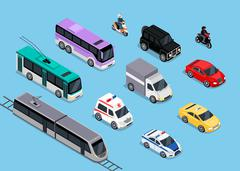 Isometric 3d Transport Set Flat Design Stock Illustration