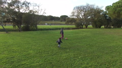 Father and Son Playing Chasing a Ball Aerial View Stock Footage