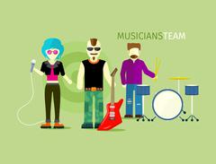 Musicians Team People Group Flat Style - stock illustration