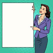 Poster businesswoman style your brand here - stock illustration