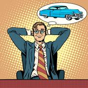 Businessman dreaming about a car - stock illustration