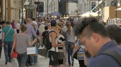 Tourists walking on Kohlmarkt street, Vienna Stock Footage