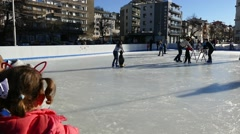 Children learn to skate. Stock Footage