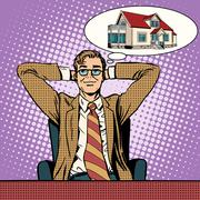 Stock Illustration of Mens dream home