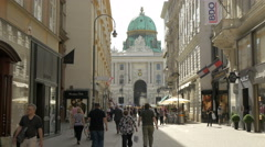 Stock Video Footage of Hofburg Palace seen from Kohlmarkt in Vienna