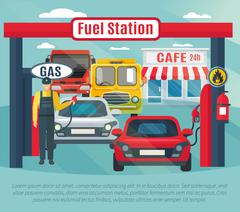 Gas Station Background Illustration Stock Illustration