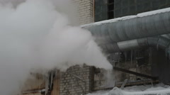 Industrial construction, the steam from the pipe Stock Footage
