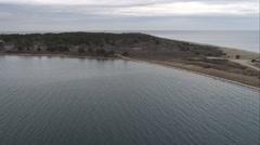 Cape Poge Lighthouse on Cape Poge Bay, Massachusetts. Shot in November 2011. Stock Footage