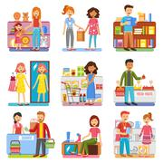 Stock Illustration of Family Shopping Concept  Flat PIctograms Collection