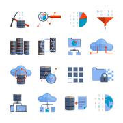 Data Processing Icons Stock Illustration