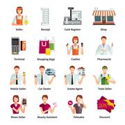 Stock Illustration of Salesman Flat Color Icons Set