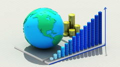 Growing business chart. with coins bars and earth. Stock Footage