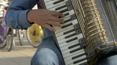 Man playing accordion in Vienna Stock Footage