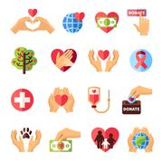 Charity Icons Set - stock illustration