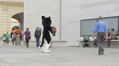 Mascot walking in a square in Vienna Stock Footage