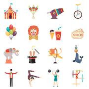 Circus Performance Flat Color Icons Set - stock illustration