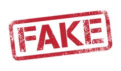 Fake in red ink - stock illustration