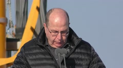 Moshe Ya'alon, Minister of Defence welcomes INS Rahav Stock Footage