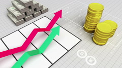Growing arrow business chart Graph with coins bars and dills. Stock Footage