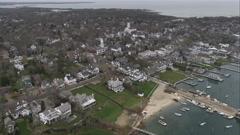 Over Edgartown, Massachusetts, looking seaward. Shot in November 2011. Stock Footage