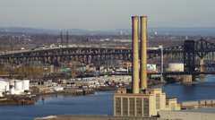 Industrial stacks with Pulaski Skyway in background. Shot in 2011. Stock Footage