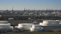 Aerial view of holding tanks and industry in Jersey City, NJ. Shot in 2011. Stock Footage