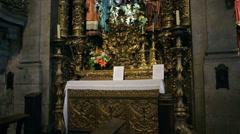 Capela de Santa Catarina with people praying - stock footage
