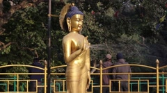 Buddha statue in the fountain Stock Footage