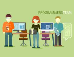 Programmers Team People Group Flat Style Stock Illustration