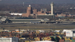 Aerial view of Port Newark and Newark Airport, New Jersey. Shot in 2011. Stock Footage