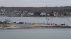 Over harbor at Oak Bluffs on Martha's Vineyard, Massachusetts. Shot in November Stock Footage