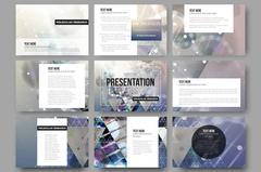 Set of 9 vector templates for presentation slides. DNA molecule structure on - stock illustration