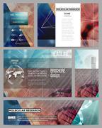Set of business templates for presentation, brochure, flyer or booklet. DNA - stock illustration
