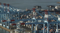 Aerial view of harbor cranes at Port Elizabeth, New Jersey. Shot in 2011. Stock Footage