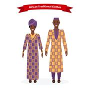 African Traditional Clothes People - stock illustration