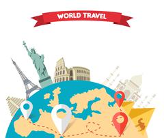 World Adventure Travel Stock Illustration
