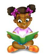 Cartoon Little Girl Reading Amazing Book - stock illustration