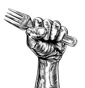 Propaganda Woodcut Fist Hand Holding Fork - stock illustration