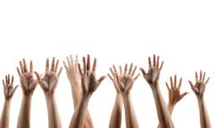 Many people's hands up isolated on white background. Various han Stock Photos