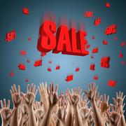 Red sale sign over blue gradient background 3d red text SALE Stock Photos