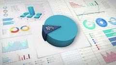 10 percent Pie chart with various economic finances graph. Stock Footage