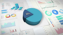 20 percent Pie chart with various economic finances graph. Stock Footage